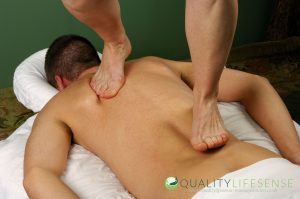 Bare foot walk on massage on your back with full weight