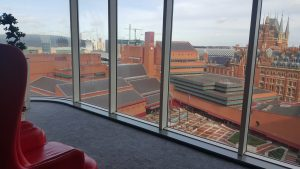 British Library View from Pullman St. Pancras Hotel, London